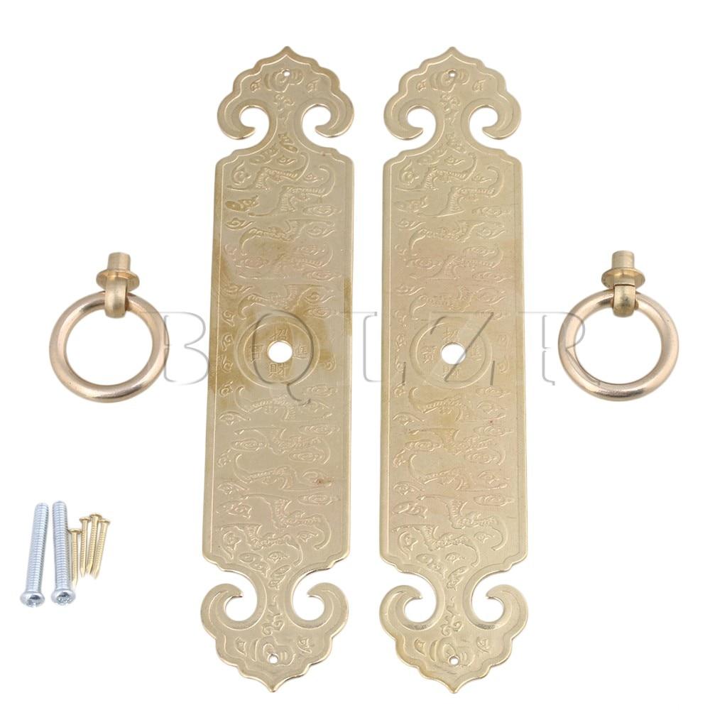 2PCS BQLZR 18 x 3.5cm Bronze Chinese Furniture Hardware Brass Cabinet Strip Pull Handle with Screws bqlzr 2 x bronze thicken dragon pattern pull knob hardware w u shaped pin