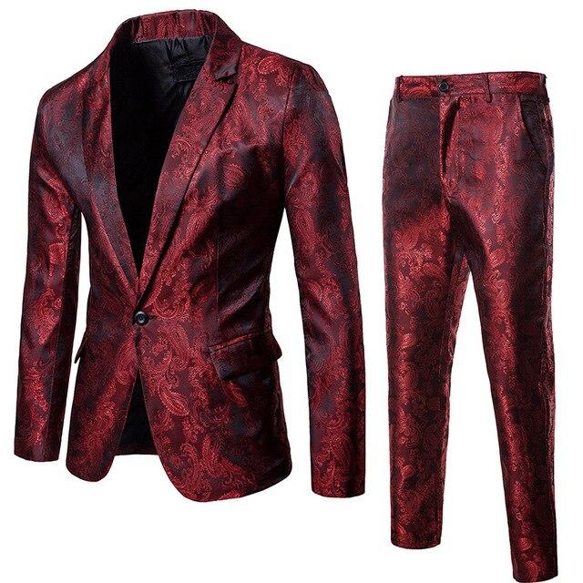 (ジャケット + パンツ) 男性ビジネスカジュアルスリムスーツセットファッションプリントタキシード結婚式フォーマルドレスブレザーステージ公演スーツ