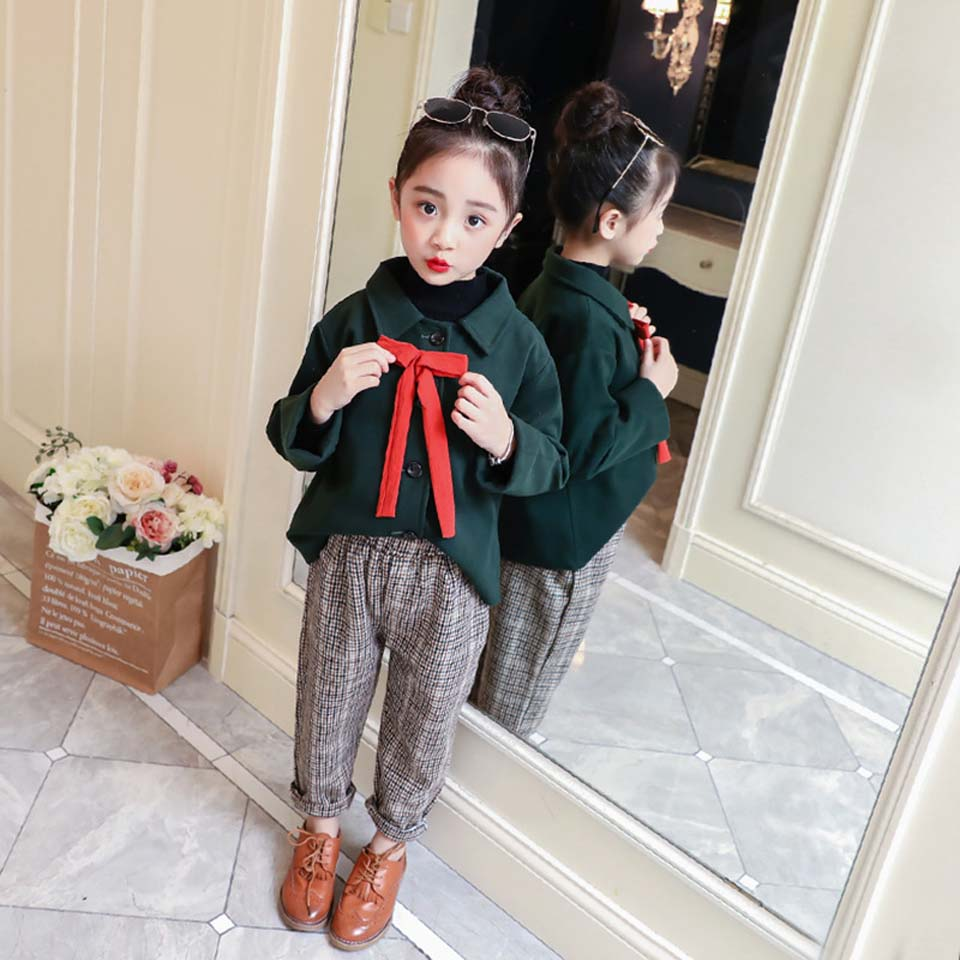 Childrens Clothes 2018 Spring and Winter Style Baby Kids Clothing Sets Girls Wool Coat and Plaid Pant Teenager FashionChildrens Clothes 2018 Spring and Winter Style Baby Kids Clothing Sets Girls Wool Coat and Plaid Pant Teenager Fashion