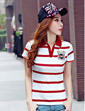 Fashion Slim Red polo femme Embroidery Short Sleeve Womens Letter Polo Shirts Cotton Women's Striped Brand Poloshirt Female B011
