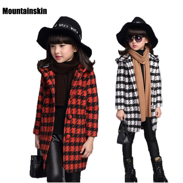 2016 New Winter Children's Coats Girls Hooded Long Woolen Jackets 3-14Y Kids Brand Fashion Clothing Plaid Girls Outerwear SC652
