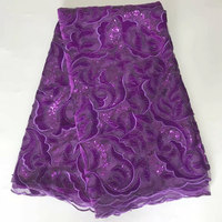 5yards/lot 2018 High quality Nigerian French Lace African Lace Fabric For Party Dress purple Africa lace fabric And velvet