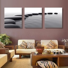 Фотография 3 Pieces/set Canvas Printed Painting Stone sea Painting Wall Art Decorative Modular Picture for Living Room framed