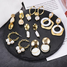 Baroque Freshwater Pearl Earrings for Women Natural Sea Shell Dangle Drop Earrings Gold Color Big Statement Jewelry ZA 2019 NEW(China)