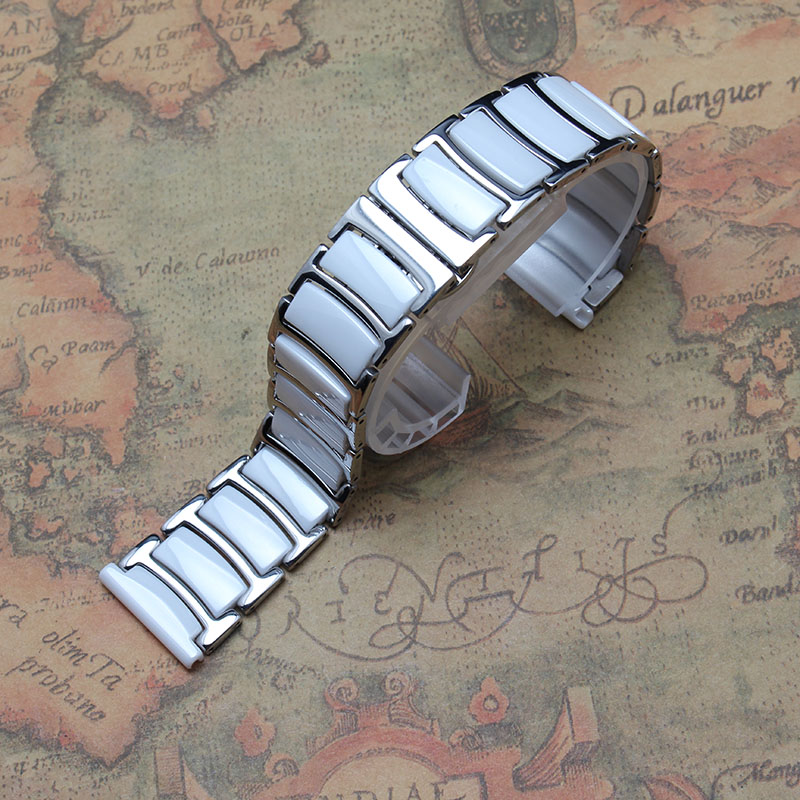 ФОТО 20mm 22mm White Ceramic watchbands stainless steel metal Buckle high quality watch accessories 2016 new promotion hour bracelets