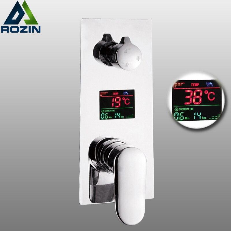 Parete Doccia In Ottone Miscelatore Valvola di Controllo Display Digitale della Temperatura 2-3 Modi Pre-box Intelligente Bagno Doccia miscelatori