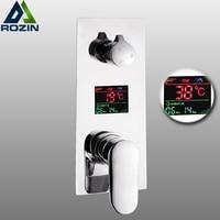Wall Mounted Brass Shower Control Mixer Valve Digital Temperature Display 2 3 Ways Pre box Intelligent Bath Shower Mixers
