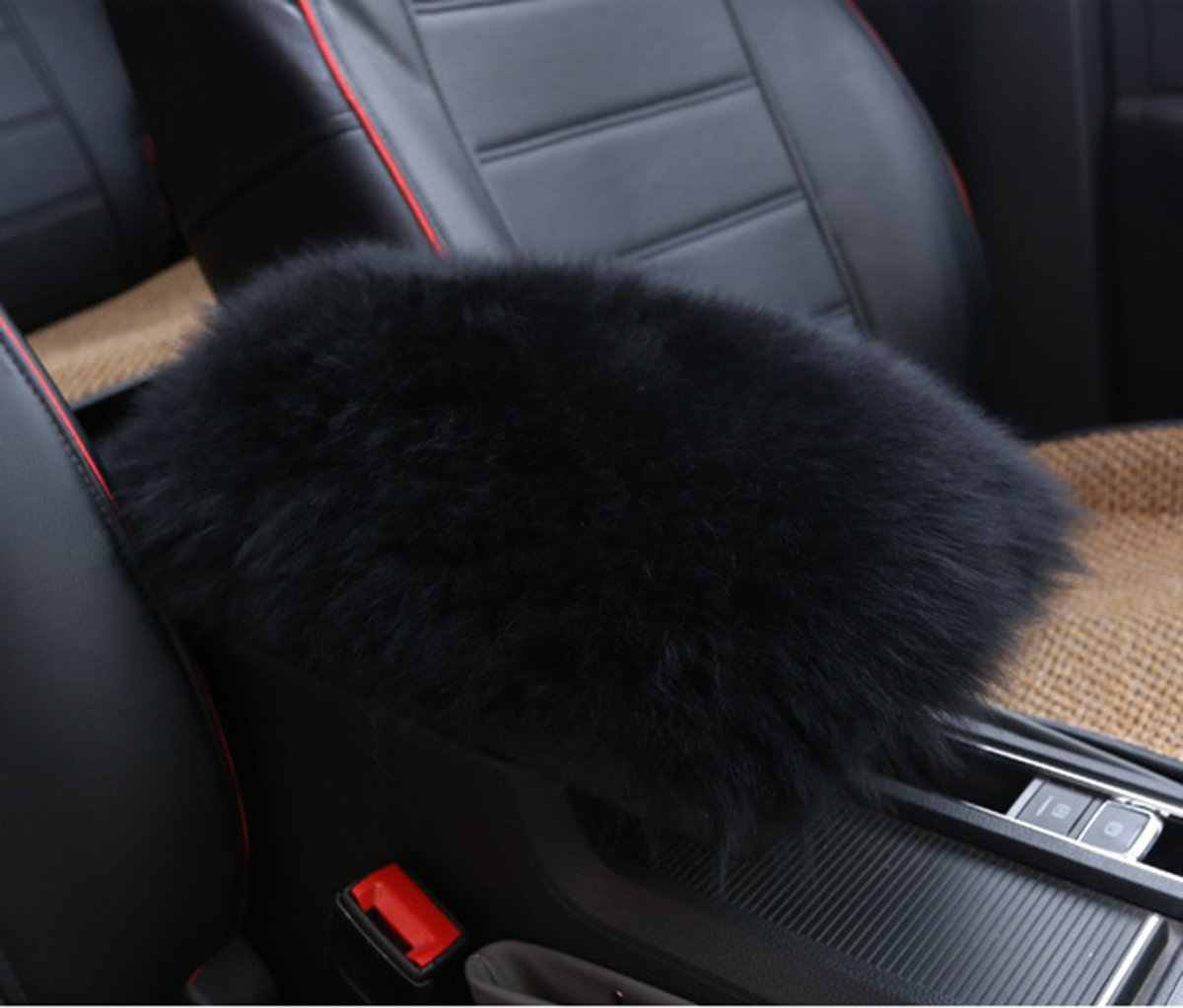 Violet seemehappy Charming Lady Luxury Wool Car Center Console Cover Fluffy Center Armrest Cover for Center Console Lid