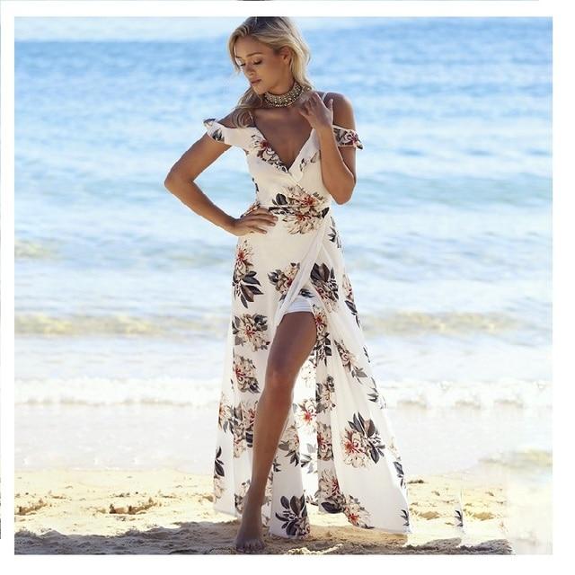 ef0c4aa05dfbbd5 Женщины с плеча цветочные напечатанные пляжные платья без спинки туника  длинное пляж платье бохо сексуальное глубокое