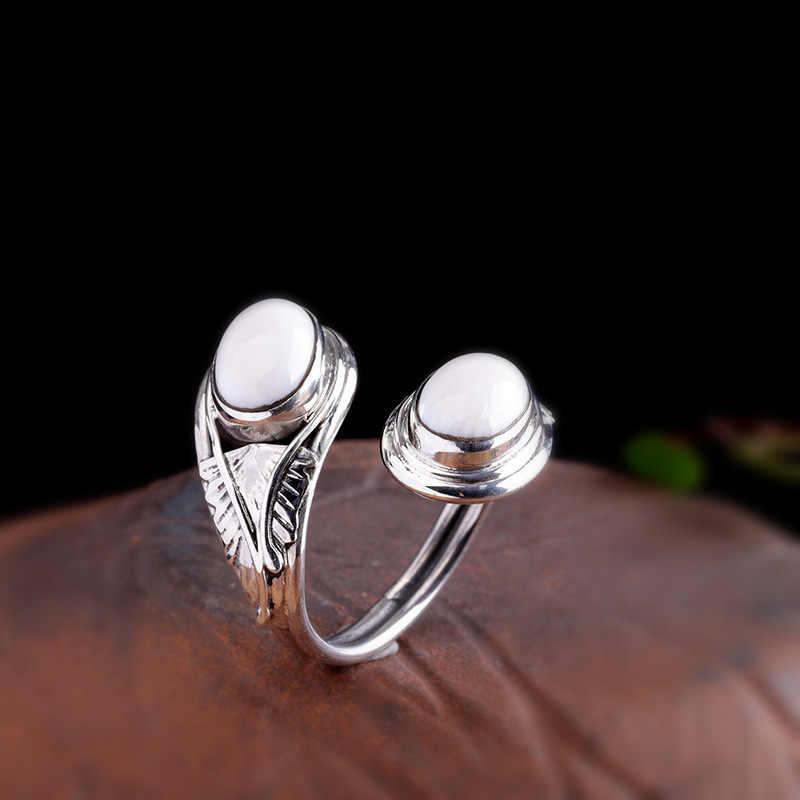 Original Handmade Real 925 เงินสเตอร์ลิงแหวนหยกสีขาวธรรมชาติแหวน Elegant Fine เครื่องประดับสำหรับของขวัญผู้หญิง 2019