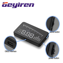 GEYIREN 3 Inch X5 OBD2 HUD Display Auto Water Temperatuur Snelheidsmeter Hud Head Up Display Elektronische Hud Auto 'S Gratis Verzending 2016(China)