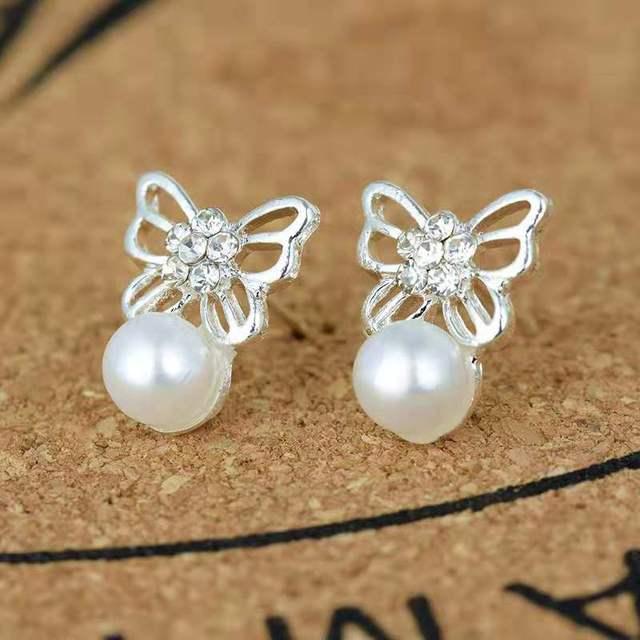 Pearl Butterfly Crystal Stud Earrings