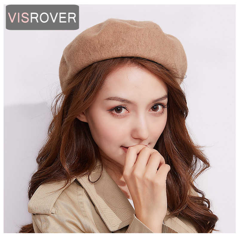 951b407c2 Wool Beret Female Winter Hats Women Flat Cap Knit 100% Cashmere Hats Lady  Girl Berets Hat Bone Female Tocas Painter Hat