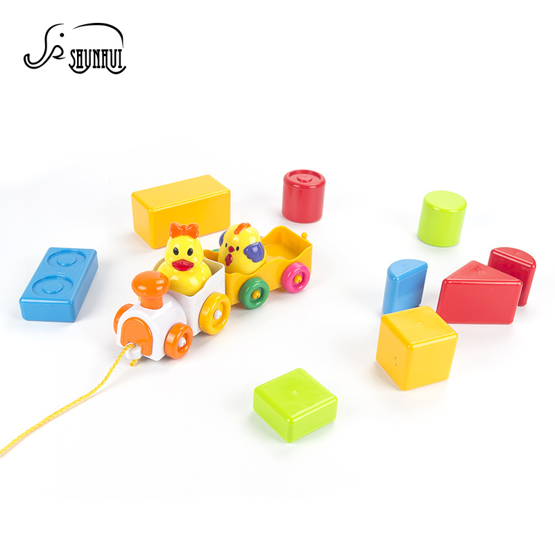 Веселый малыш DIY Building Конструкторы Пластик игрушки Brinquedos мини музыкальный укладка поезд модель автомобиля Игры развивающие Игрушечные лош...