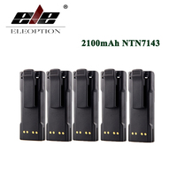 ELEOPTION 5PCS 2100mAh NTN7143 NTN7144 Battery for MOTOROLA HT1000 MT2000 MTS2000