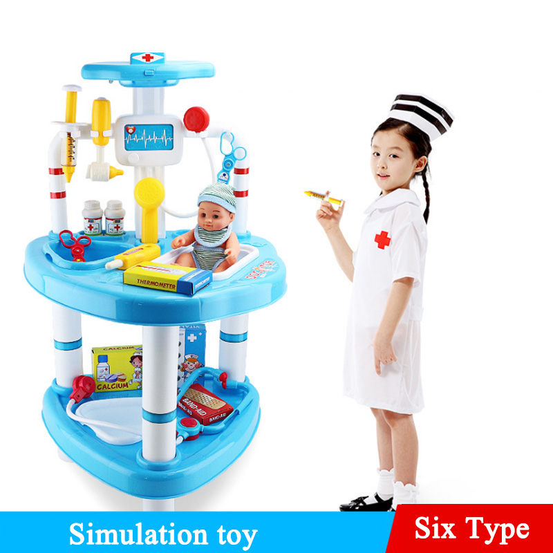 New 6 Types 1 Set Children Play With Dolls Simulation Pretend Play Kits Doctors Toy With A Doll For Children Kid Educational Toy