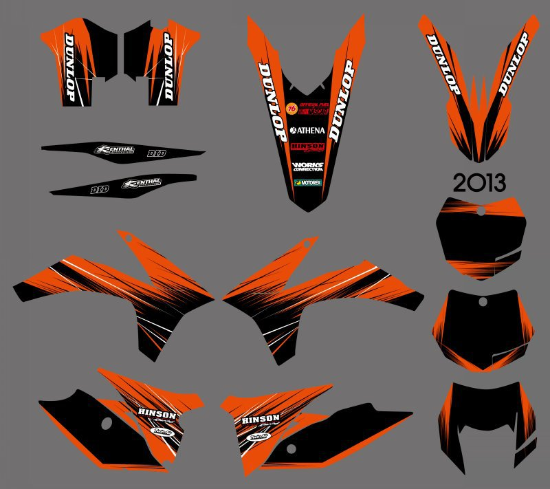 H2CNC Graphics & Background Decal Sticker For 125 200 250 300 350 450 500 505 520 525 530 EXC 2012 2013 XC Series 2011