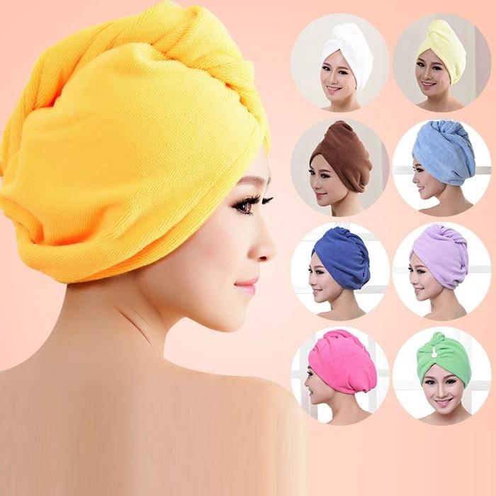 60cm x 25cm Microfiber Bath Towel Hair Dry Hat Cap Quick Drying Lady Bath Tool