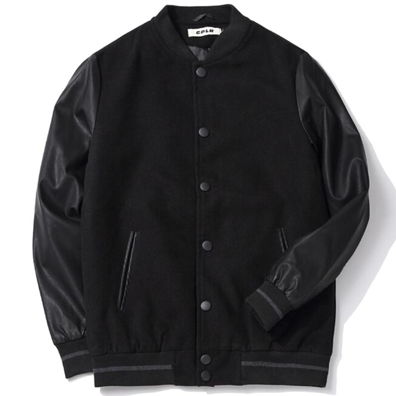 Логотип на заказ, школьная форма для команды, мужская бейсбольная куртка для колледжа, кожаные рукава, университетское пальто Letterman размера плюс, 5XL, 6XL, черный цвет