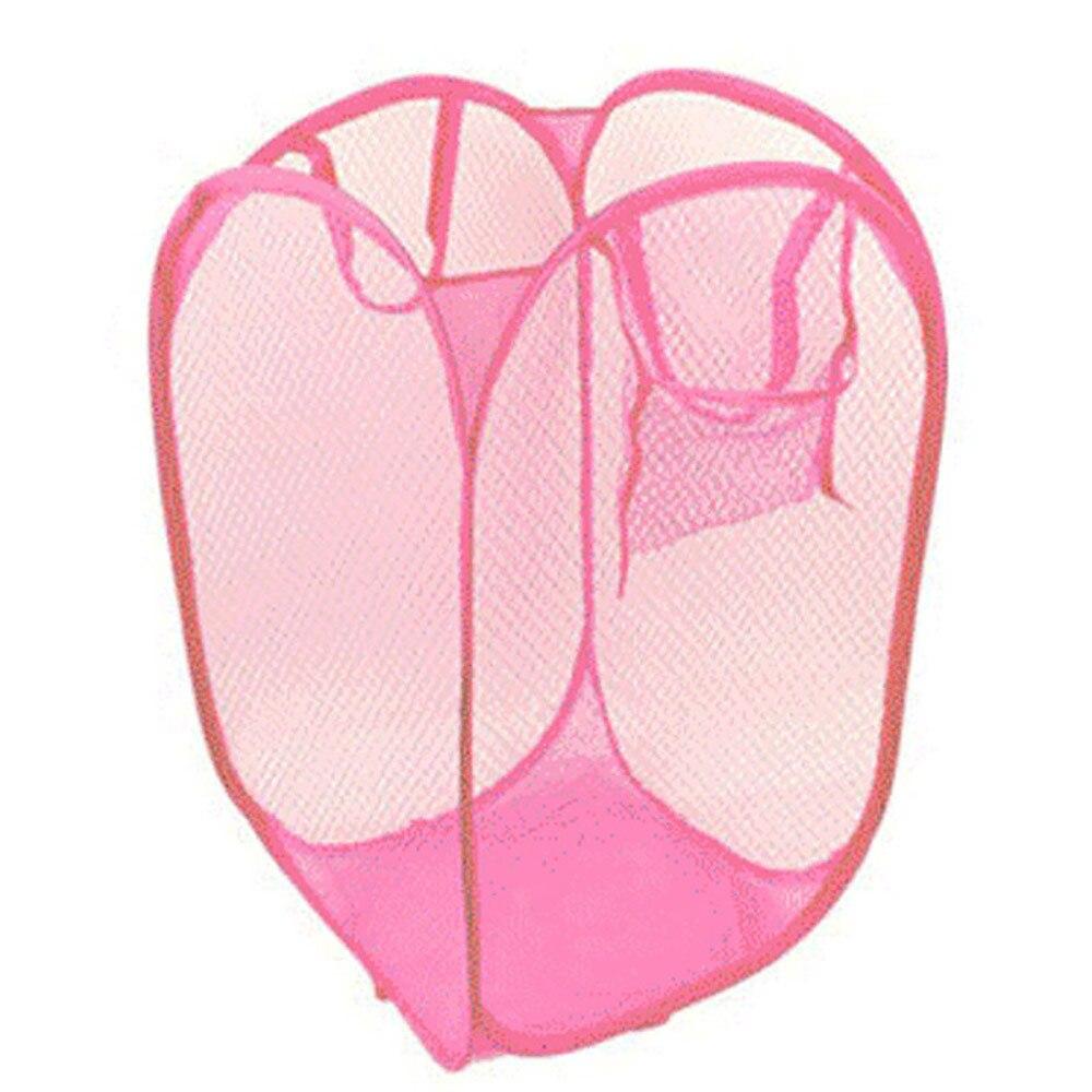 40*40*60cm Foldable Pop Up Washing Laundry Basket Nylon Mesh Bag Hamper Mesh Lingerie Underwear Cloths Storage Droship 10Jun 8