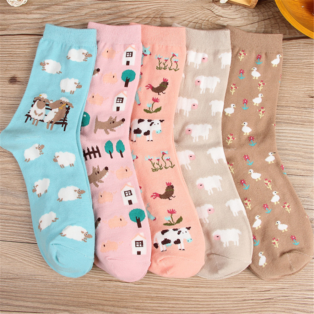 FOURETAW 1 Pair Cute Chic Cartoon Sheep Cock Dog Duck Pattern Women   Socks   Creative Cotton Funny   Socks   for Female Girls Ladies
