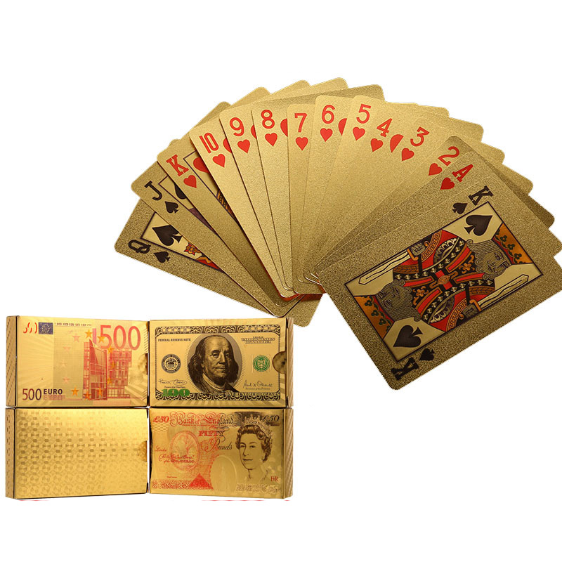 Creative Gold/Silver Pokers 12 Kinds Option Luxury 24K Gold Waterproof And Dull Polish Poker Best Gift