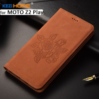 For Motorola MOTO Z2 Play Case KEZiHOME Matte Genuine Leather Flower Printing Flip Stand Leather Cover