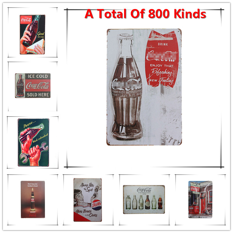 New Enjoy The Coke Chic Home Bar Vintage Metal Signs Home Decor Vintage Tin Signs Pub Vintage Decorative Plates Metal Wall Art