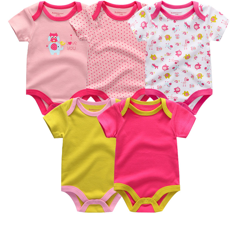 5PCS-LOT-Unisex-Top-Quality-Baby-Rompers-Short-Sleeve-Cottom-O-Neck-0-12M-Novel-Newborn