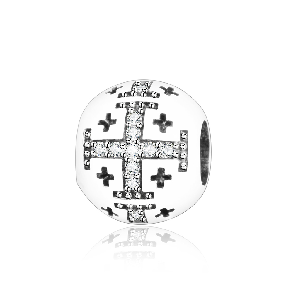 Authentic 925 Sterling Silver Bead Charm Round Cross With White Crystal Beads Fit Original Pandora Charm Bracelet DIY Jewelry