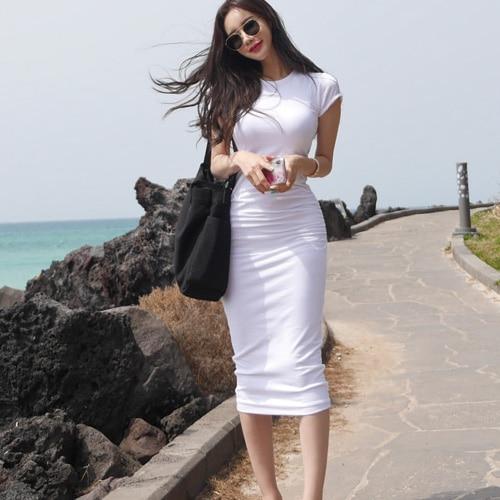 Black Robe Femme Boho Tight Body T-shirt Girls Sexy White Dress Summer Women Dresses Female Evening O Neck Night Robe Vestido