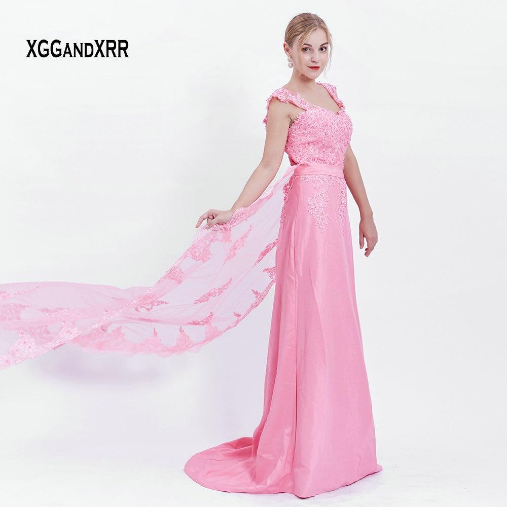 Offre spéciale chérie dentelle appliques perles robes de bal longue robe de soirée 2018 rose a-ligne détachable Train formel femme robe