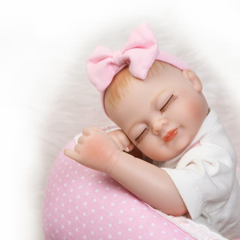 27cm Full Body Silicone Vinyl Reborn Babies Toys Doll 11 inch Real Life Baby Boys Girls Reborn Dolls Juguetes Brinquedos in Dolls from Toys Hobbies