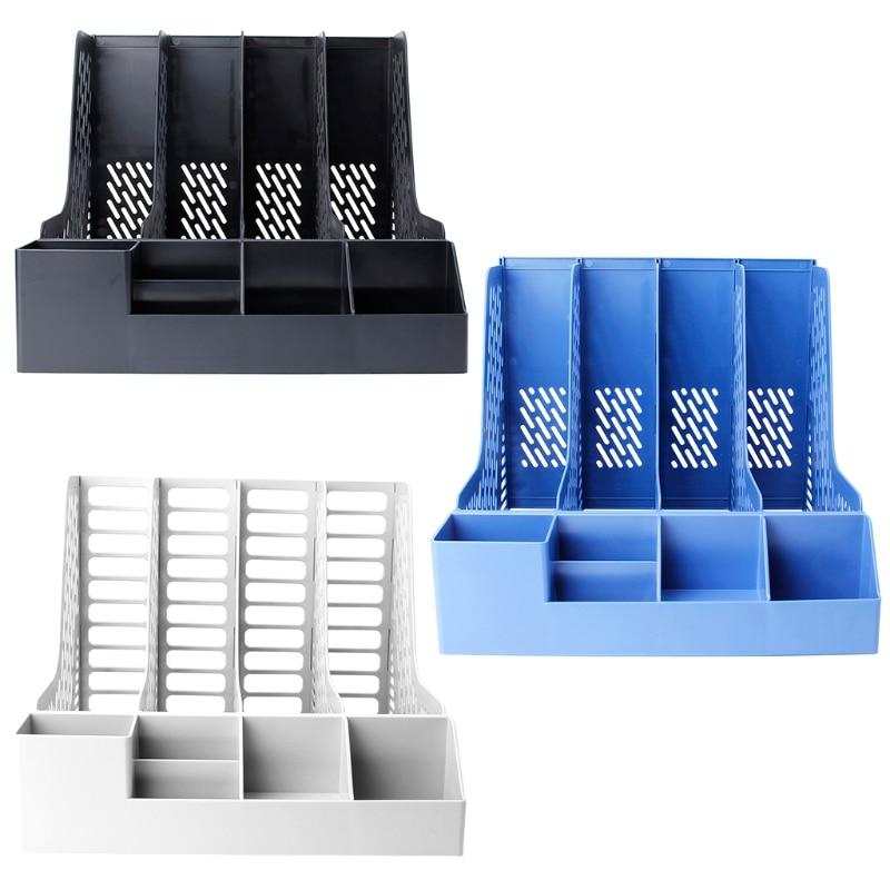 4 Sections Desktop File Rack Paper Book Hold Office Document Tray Organizer Box MAY12 17 5 9 12 5cm desktop file holder metal mesh file box block data rack document file bar box storage shelves office organizer