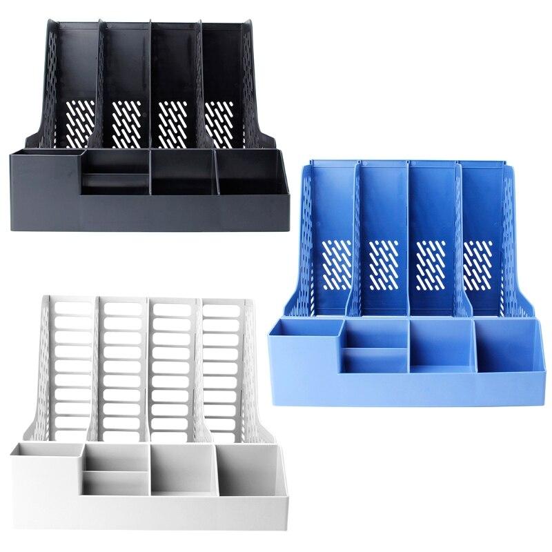 4 secciones escritorio estante del archivo libro de papel cargo bandeja de documentos organizador caja MAY12