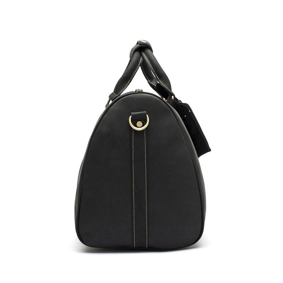 Hot Koop Lederen Tas Mode Top Laag Koe Lederen Mannen Grote Reistas Designer Eenvoudige Patchwork Zwarte Hand Tas - 3