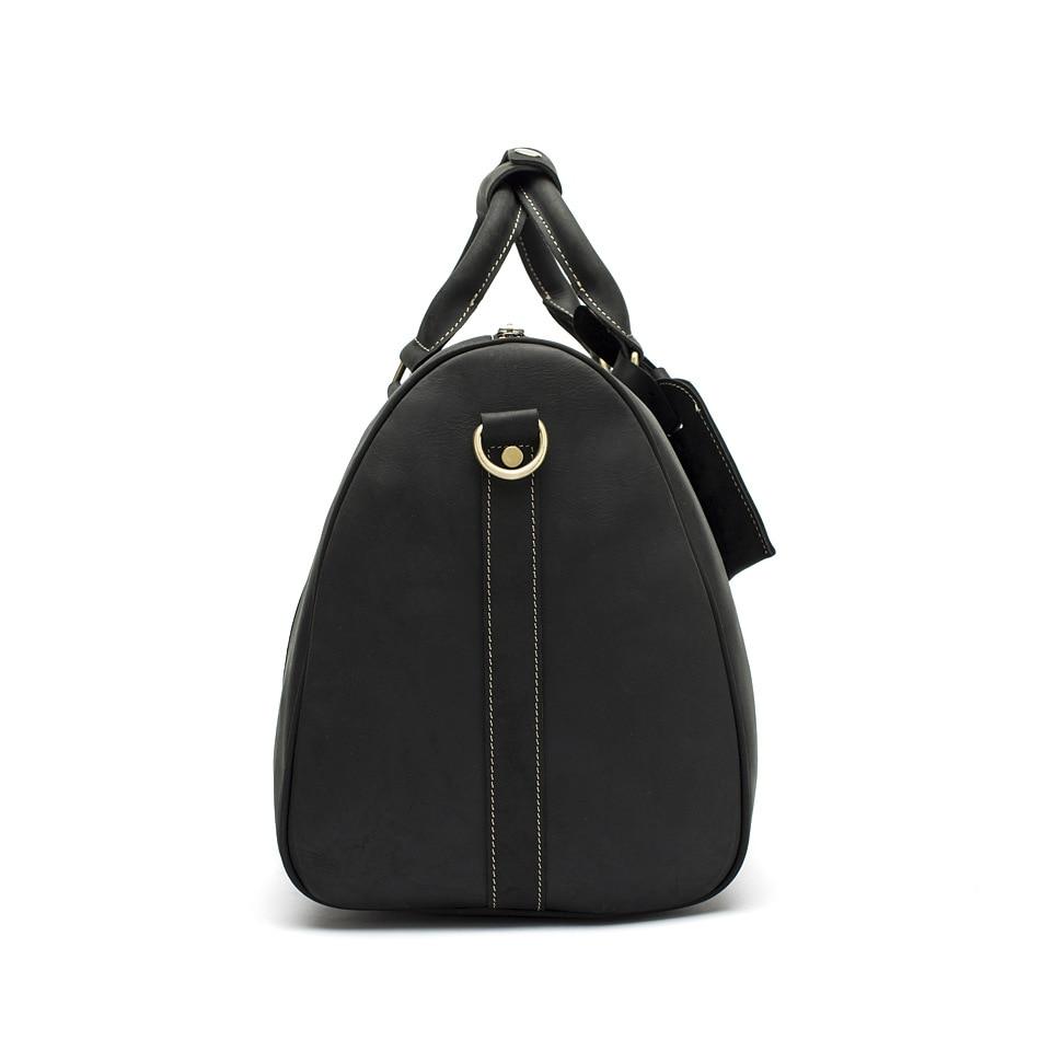 Hot Sale Genuine Leather Bag Fashion Top Layer Cow Leather Men Large Travel Bag Designer Simple Patchwork Black Hand Bag - 3