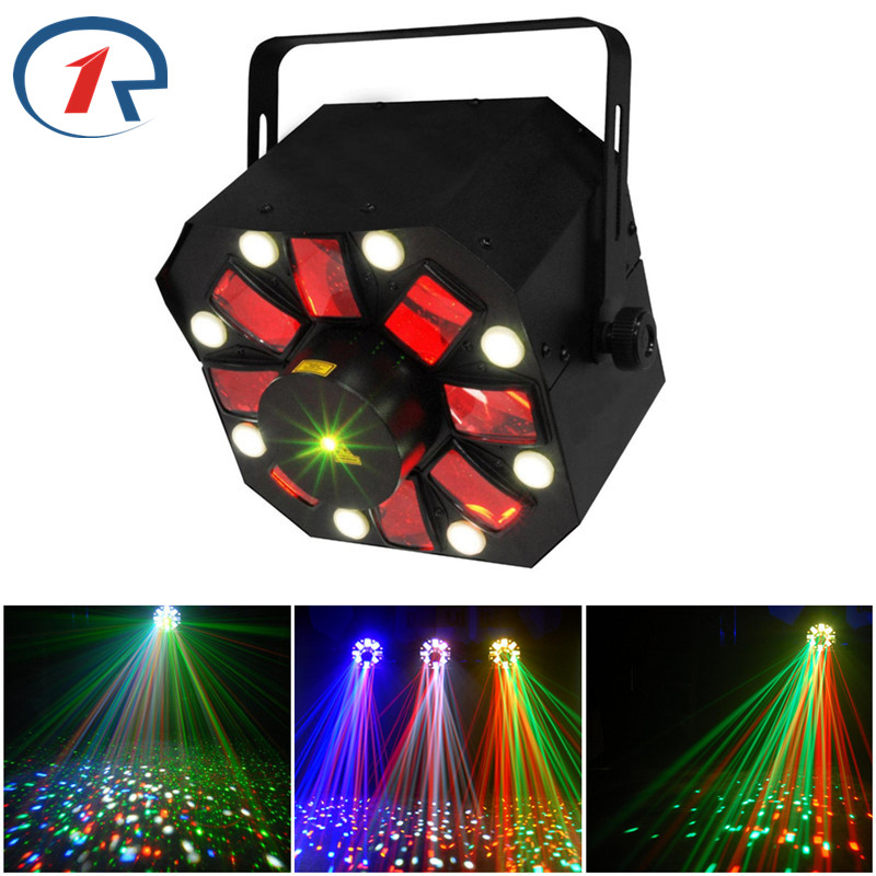 ZjRight 3 in 1 Laser/Strobe/Rotating Derby stage light Moon flower Effect RG Moving Laser Light 8 White Strobe LED for holiday