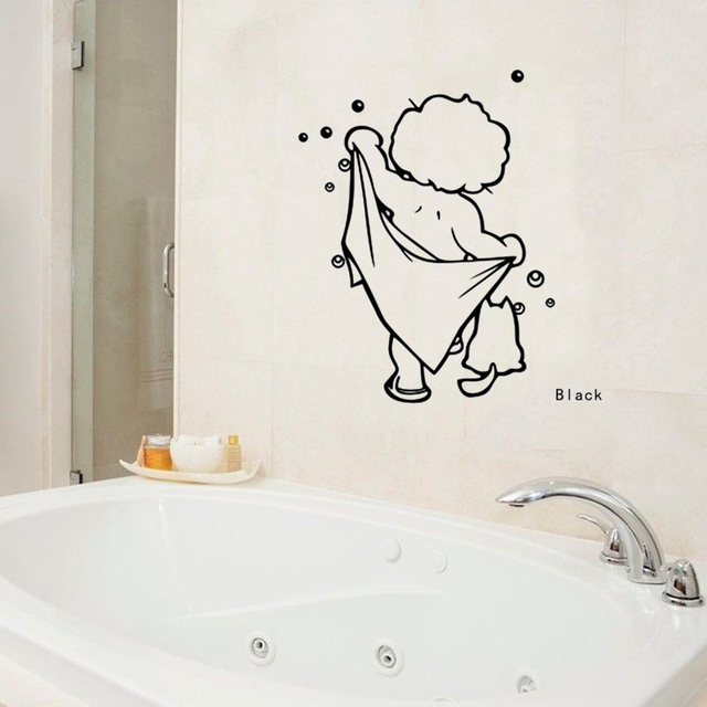 high quality bathroom wall decal window funny shower man wall