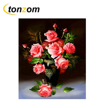 RIHE Pink Rose Diy Painting By Numbers Abstract Flower Vase Oil On Canvas Cuadros Decoracion Acrylic Wall Art Gift