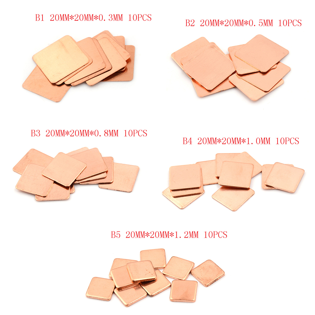 10PCS Laptop Copper Sheet Plate Strip Shim Thermal Pad Heatsink Sheet High Quality