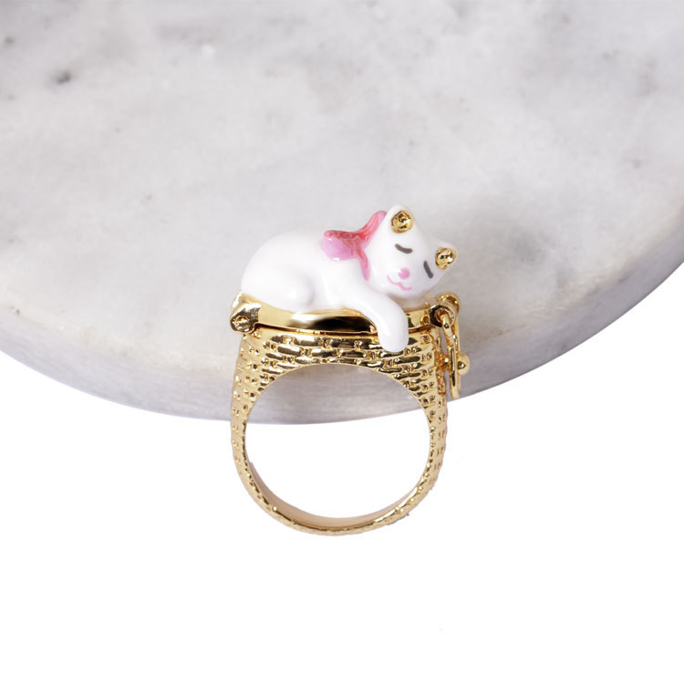 France Dyxytwe Enamel Glaze ring Clever cat nest creative flip Funny Women clever cat page 1