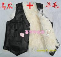 Hot Sale Genuine leather male long wool fur vest thermal sheepskin waistcoat cotto the elderly cashmere sweater vest,