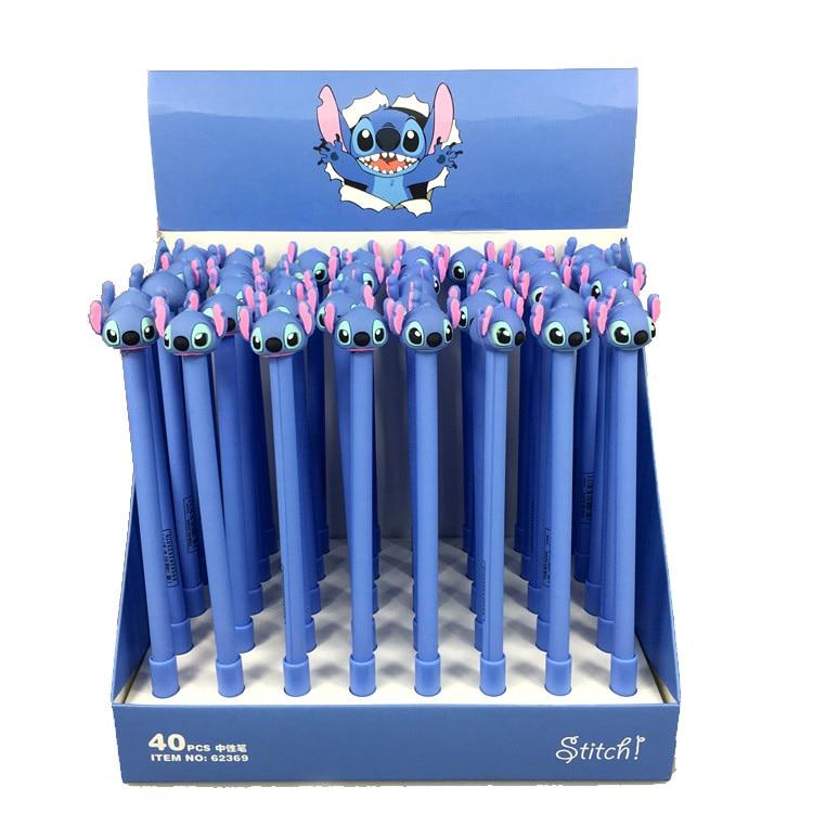 40pcs pack 0 5mm creative cute cartoon stitch black ink gel pen promotion gift office school