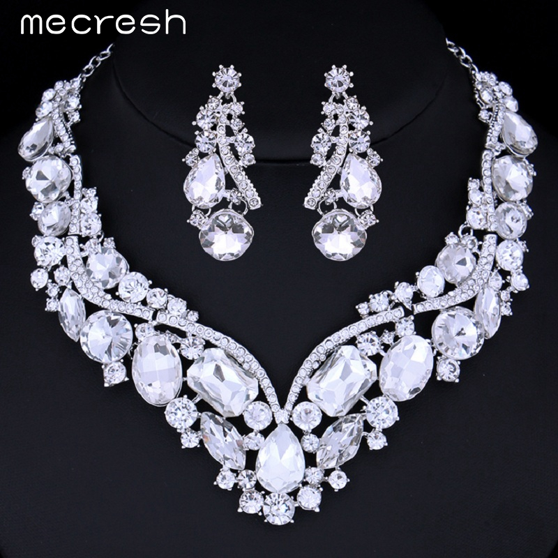 Luxurious Crystal Bridal Jewellery Set Silver Plated Necklace Earrings Truly Me