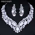 Mecresh Luxurious Crystal Bridal Jewelry Sets Silver Plated Statement Necklace Earrings Wedding Jewelry Accessories TL005