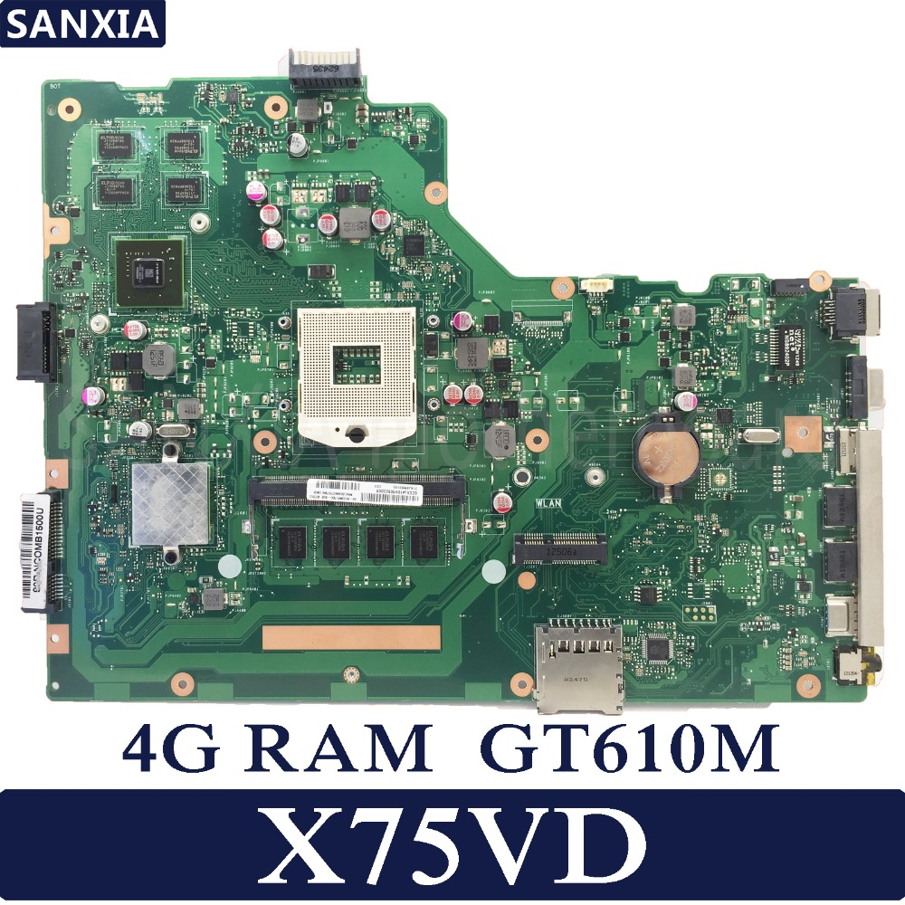 KEFU X75VD Laptop motherboard for ASUS X75VD X75VC X75VB X75A X75V X75 Test original mainboard 4G RAM GT610M original for asus x75vd motherboard x75vd rev3 1 mainboard processor i3 2350 gt610 1g ram 4g memory on board 100% test