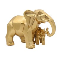 Nordic Resin Sculpture Geometry Elephant Mother and Child Statue Home Decoration Creative Gifts Crafts Decoration Accessories