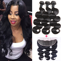 Rosa Hair Products Brazilian Virgin Hair Body Wave with Lace Frontal Closure 13x4 Ear to Ear Lace Frontal Closure with Bundles