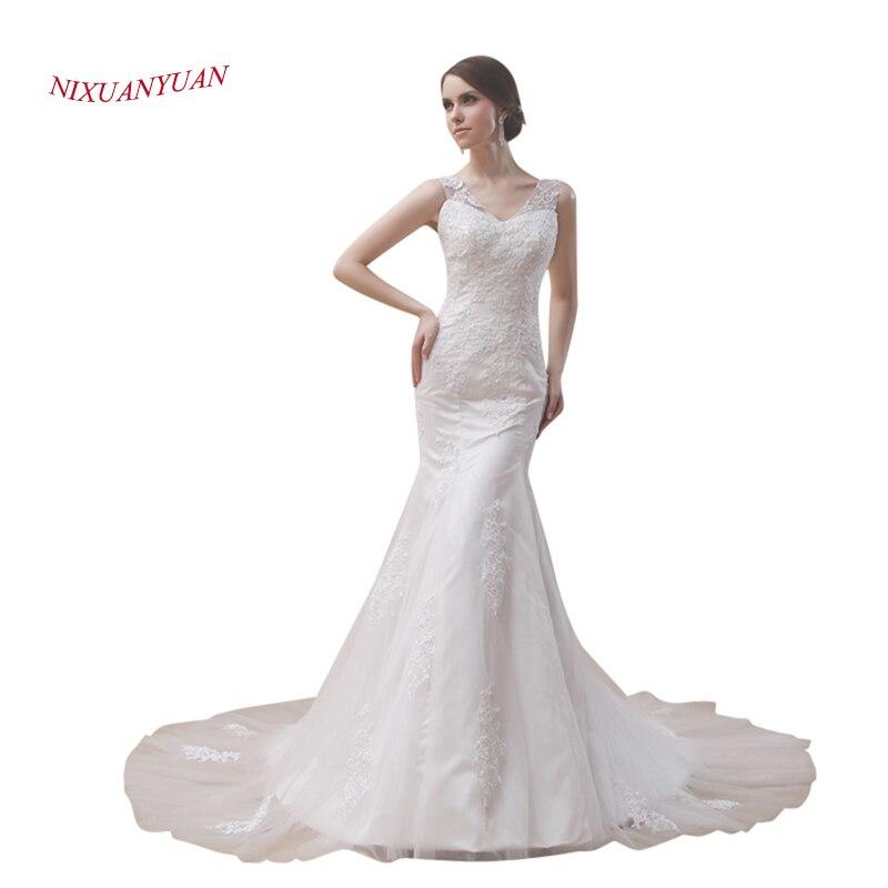 Cheap White Ivory Wedding Dresses Mermaid Lace Appliques: NIXUANYUAN Elegant Appliques Ivory White Satin Mermaid
